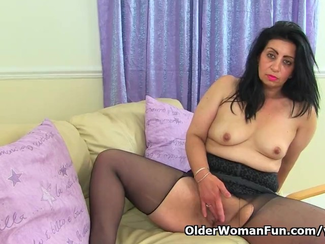 British milf bounty pleasures her pink and pantyhosed pussy