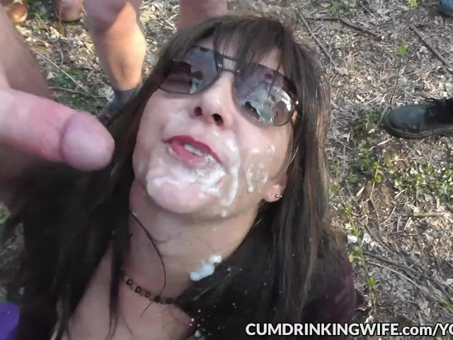 Slutwife gangbanged by many strangers at a wooded dogging sp 4