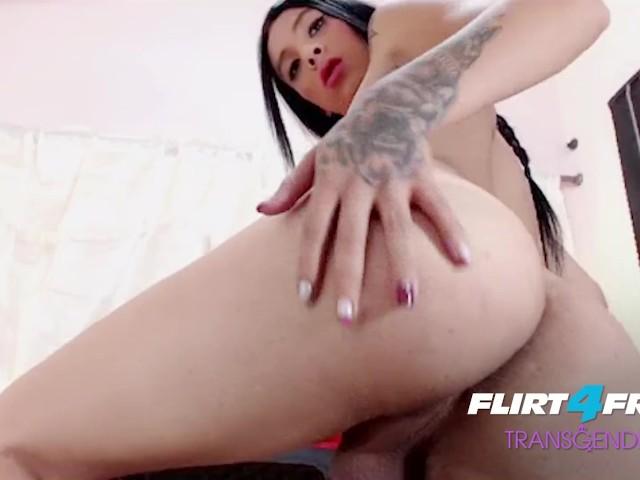 Flirt4free Transgender Model Pamela Lyn - Gorgeous Shemale With Perfect Petite Body Eats Her Own Cum