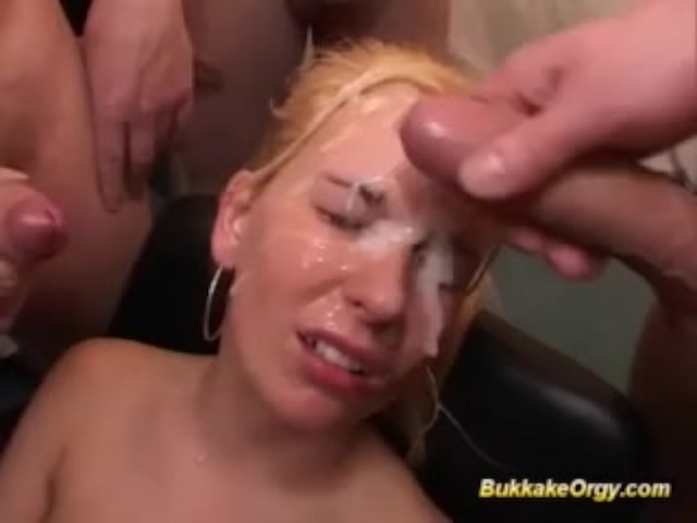 Her First Rough Bukkake Party