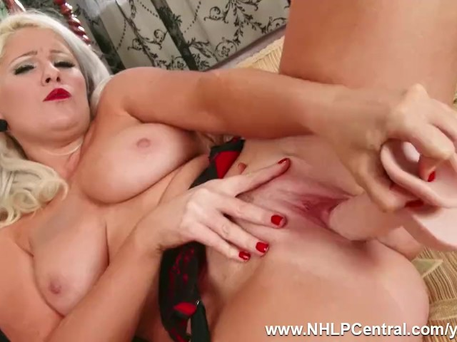 Busty Blonde Lu Elissa Strips Off Retro Red Lingerie and Toys Pussy in Black Nylons and Stilettos