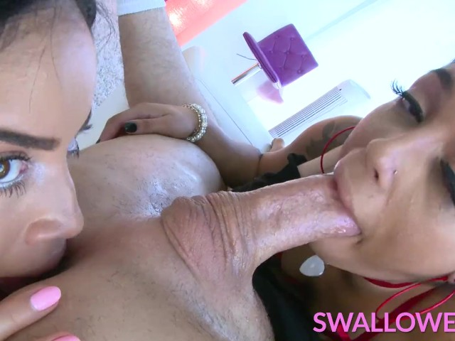 Swallowed Blowjob Threesome With Two Latina Babes