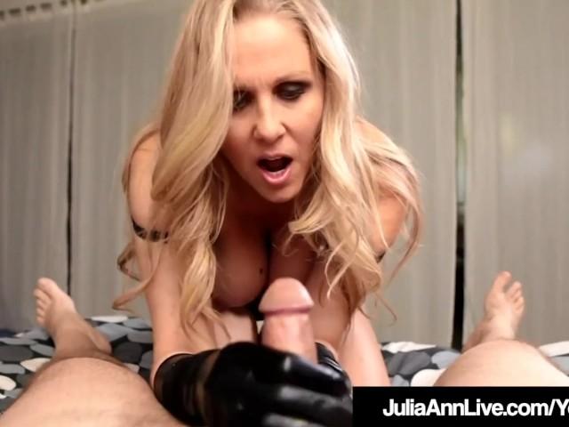 Major Hot Milf Julia Ann Wears Sexy Gloves to Do a Handjob!
