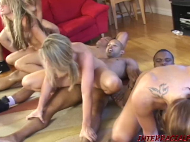 Blonde Fucked and Cummed on in Big Black Cock Orgy