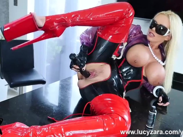 British Blonde Big Tits Milf Lucy Zara Fucks Huge Dildo Toy in Full Latex Outfit With Big Platform Heeled Boots