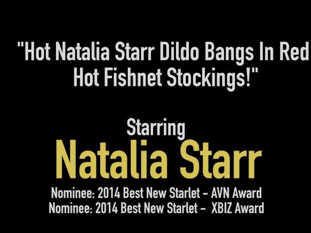 hot natalia starr dildo bangs in red hot fishnet stockings!