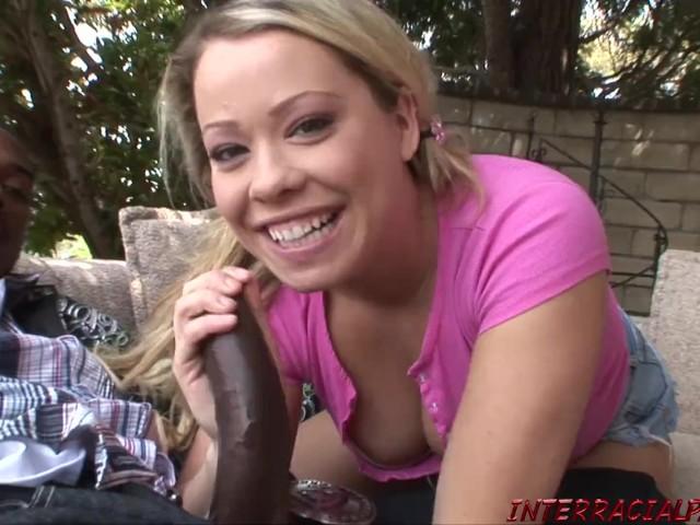 Cute Blonde Rides Big Black Cock in Back Yard
