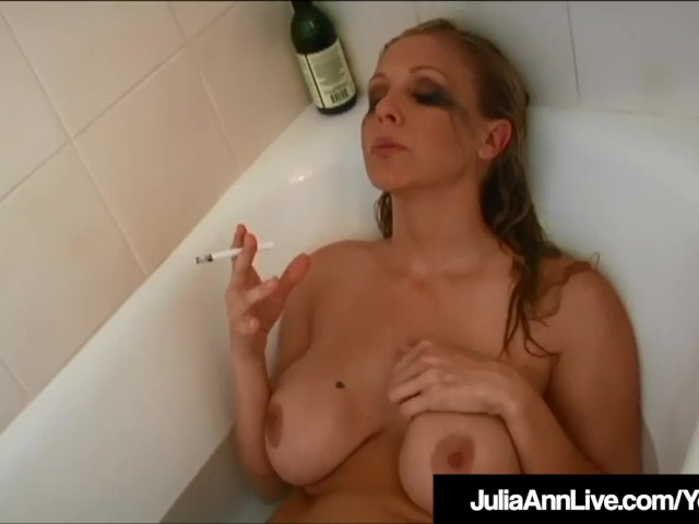 Hot Busty Milf Julia Ann Smokes Cigs Nude in Bathtub!