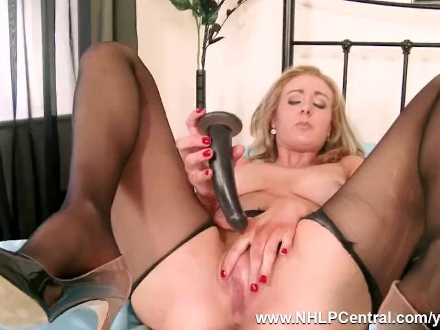 Horny Blonde Sapphire Blue Vigorously Fucks Her Toy in Seamless Black Nylon Pantyhose
