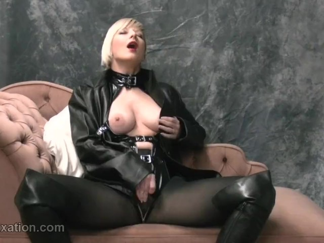 Horny Blonde Rubs Big Tits With Leather Masturbates in Pantyhose and Femdom Teases With Whip