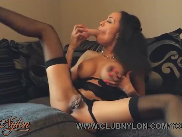Ebony Slut Alyssa Divine Strips Off Fingering Fucking Toy in Sexy Lingerie Nylon Stockings and Heels