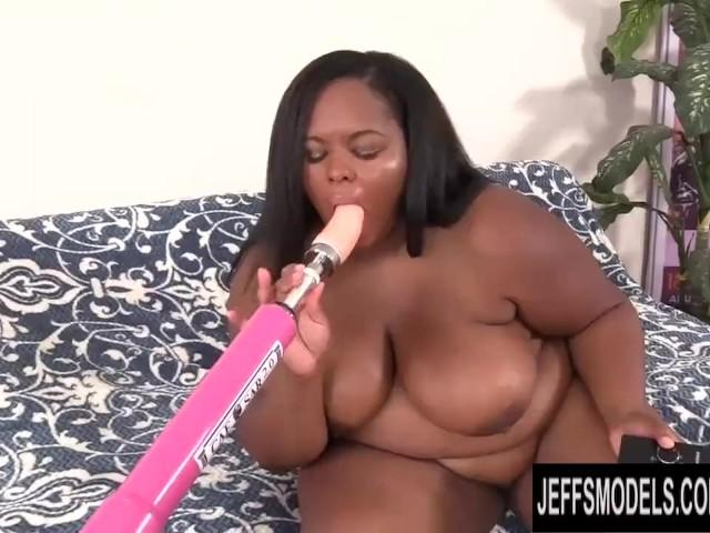 Chubby Black Slut Olivia Leigh Is Pussy Fucked by a Dildo Machine