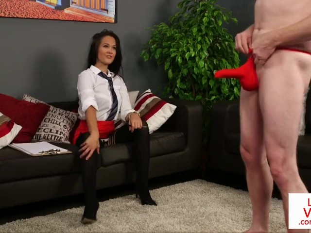 Voyeur Office Babe Humiliates Sub During Joi