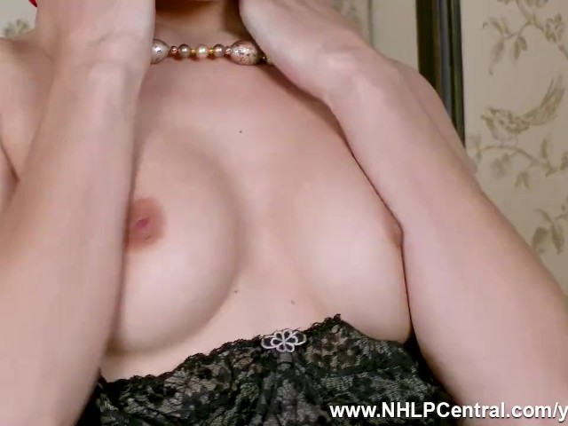 Kinky Blonde Chloe Toy Fucks Dildo in New Shoes With Rare Sheer Black Nylons and Vintage Lingerie