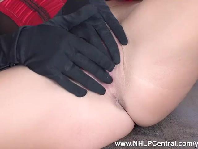 Gorgeous Blonde Natalia Forrest Masturbates in Vintage Nylons Corset and Stilettos