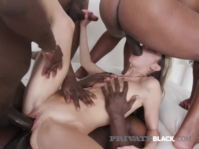 4 Black Cocks Fuck Gina Gerson in Every Damn Hole!