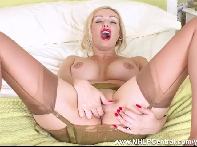 Blonde Milf Amber Jayne Finger Fucks Pussy in Vintage Girdle Sheer Nylons and Stilettos