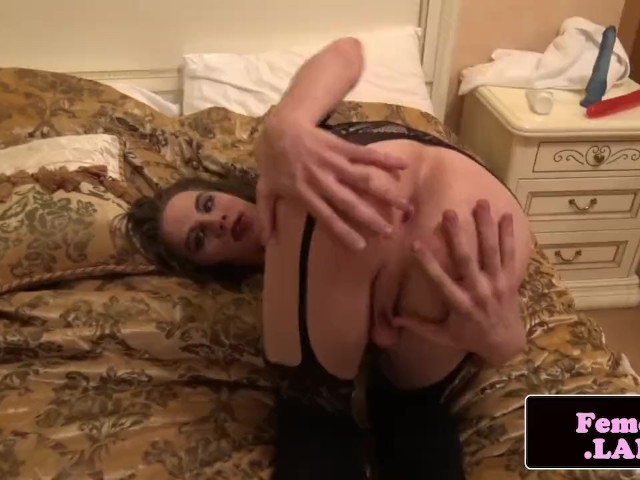 Lingerie Femboy Stuffs Her Tight Ass With Toy