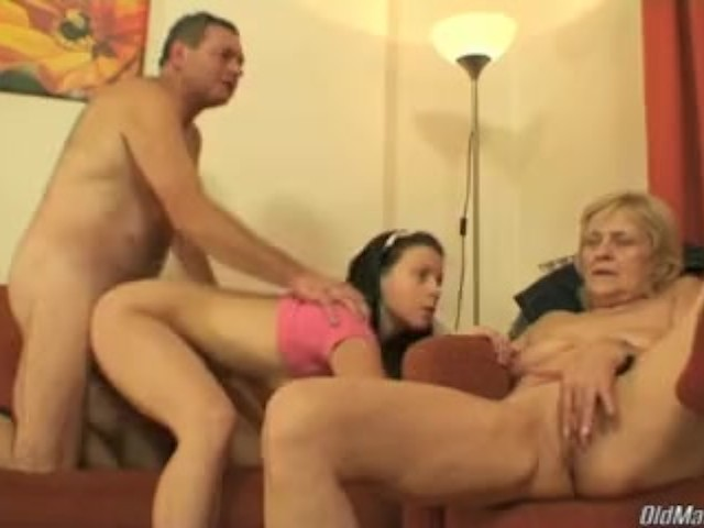 Horny Mature and Sexy Young Chick Share Senior's Pecker
