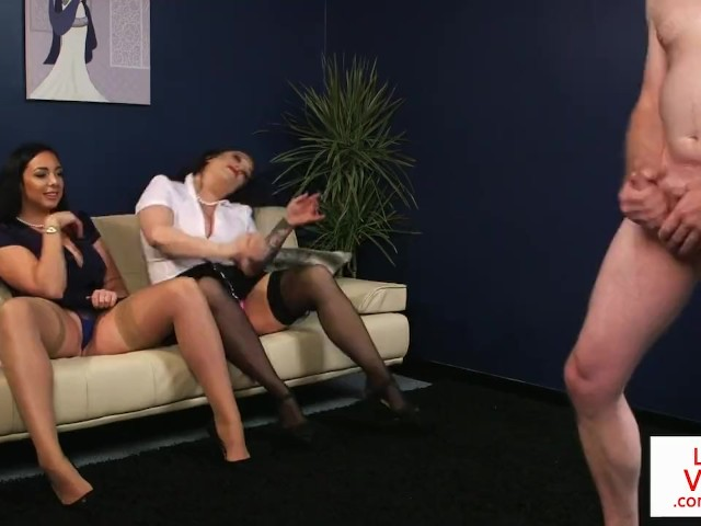 Curvy Cfnm Femdoms Instructing Sub to Jerkoff