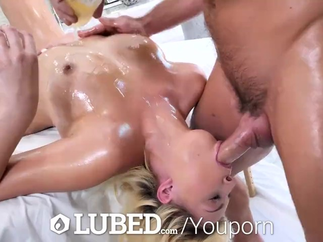 Lubed Gleaming Lubed Up Blonde Fucked