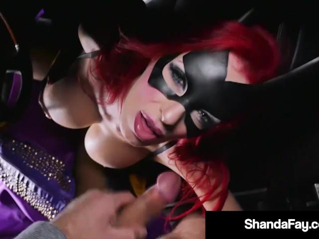 Busty Batgirl Shanda Fay Sucks Cock Roadside!