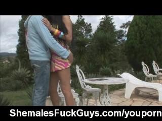 Brazilian shemale fucks a guy