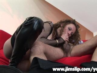 Unnatural British lady biting his shaft