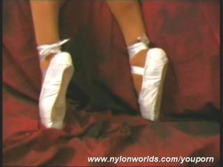 Flexible Carmen posing in nylon