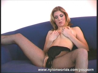 Arwen undressing nearby nylons