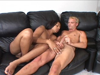 Shemale watches Blonde Fox play with his prick