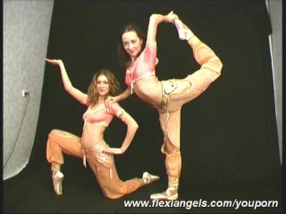 One ballerinas shows flexible excersises