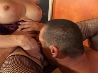 She has a  hairy cock for him