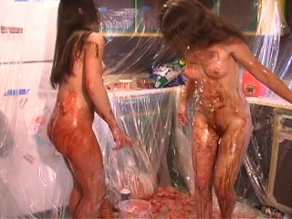 Food fight between two gals