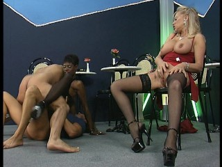 Black stunner gets double teamed