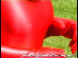 Big breasted Jana alfresco in red-hot spandex