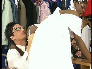Wedding dress maker kisses and licks the cully