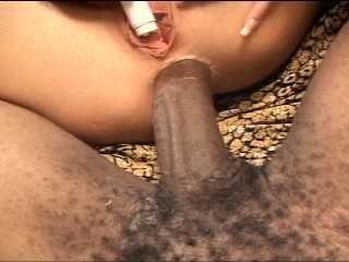 Chunky black cock mouth fucking
