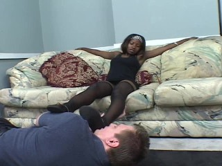 Ebony  chick has blanched cadger sliding wild for say no to feet PT.1/3