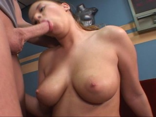Explicit at one's fingertips gym let's guy work out on her