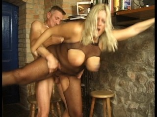 Uncomplicated big titty tow-headed gets it in eradicate affect kitchen (clip)