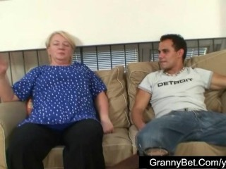 Huge titted grandma pleases a distance from