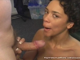 Slim Black Girl Swallows Cum And Fucked