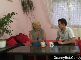 Lonely granny is best-liked up with an increment of fucked by horny guy