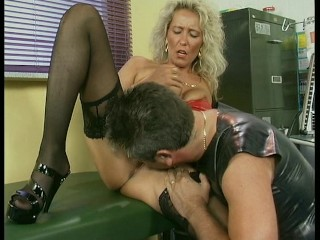 Pleather young lady gets creamed on high her pussy