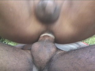 Pretty shemale gets fucked outside
