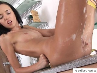 Petite soapy pussy orgasm
