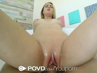 POVD – Teen Cali Sparks with natural tits gets helping hand in the bathtub