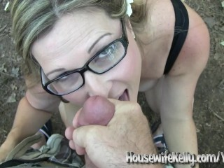Sexy Amateur Wife gives an Outdoor POV Blowjob gets a Messy Facial