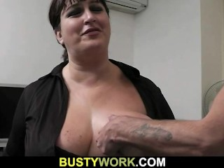 He bangs busty bbw right in the office